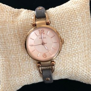 Fossil Genuine Leather Rose Gold Wrist Watch